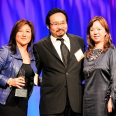 """IW Group, Inc. was the overall grand prize winner in the Asian category for their campaigns for Met Life entitled, """"Play Date"""" and """"Standing Ovation."""" Accepting the award at the ANA's Multicultural Excellence Awards dinner were left to right: Nita Song, President; David Toyoshima, Executive Creative Director, and Betty Kao, Vice President, Client Services. Photo by Clarion Pictures."""