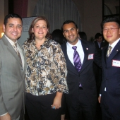 State Farm's Northeast Zone Multicultural Division generously sponsored the membership mixer. Pictured left to right are Allen Gomez, Linda Ward, Dennis Martinez and Mike Lee.