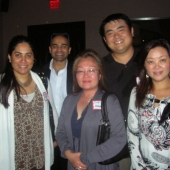 Mingling and mixing during the event were left to right: Kaajal Mathur and Ashkay Garg of Komli Media; and Vivian Lau, 3AF Board Member Tommy Ng, and Shiny Qin, Admerasia.
