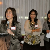 President Nita Song made welcoming remarks while 3AF Board Member Sharmila Fowler and 3AF Executive Director Genny Hom-Franzen listened attentively.