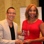 Tim Wang, Principal, T.D. Wang Advertising Group and 3AF Board member, (left) presented the 2012 3AF Marketing Research Partner of the Year award to Nielsen. Accepting the award was Cheryl Pearson-McNeil, Senior Vice President of Public Affairs and Government Relations, Nielsen.