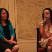 Christine Chen, Interim Executive Director, Asian & Pacific Islander American Vote (left) and Gloria Chan, President & CEO, Asian Pacific American Institute for Congressional Studies, spoke about Asians, public policy and the upcoming election.