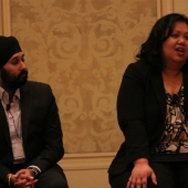 Speaking about opportunities in the Asian market in Canada were Bobby Sahni, Rogers Communications (left) and Joycelyn David, Director of Marketing, Western Union. Also on the panel but not pictured was Rod Cumming, CIBC.