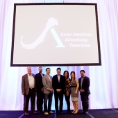 At the end of the conference, a few 3AF Board Members paused for a celebratory photo. Pictured left to right are: Mike Sherman, KTSF; Vin Bhat, Saavn; Joe Min, interTrend; Edward Chang, APartnership; Genny Hom-Franzen, 3AF; Nita Song, IW Group Inc., and Ricky Resurreccion, The Filipino Channel.