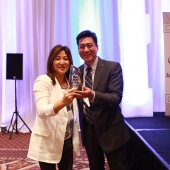 Nita Song, left, 3AF Past-President, was surprised with a special award presented by 3AF President Edward Chang, right.