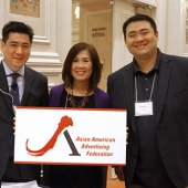 The 3AF Board was excited to welcome attendees. Pictured left to right are Edward Chang, 3AF President; Genny Hom-Franzen, 3AF Executive Director; and Tommy Ng; 3AF Board Member.