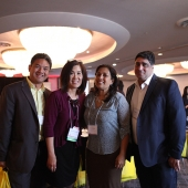 Conference attendees paused for a photo during a break. Pictured left to right are Mike Moon, Prime Image Media Group; Genny Hom-Franzen, 3AF Executive Director; Sharmila Fowler, Asian Marketing Manager, McDonald's and Manish Seth, Director of Sales, Sony.