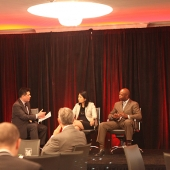 Author Jane Hyun (middle) and Gerald Johnson, Chief Diversity Officer and Senior Vice President of Marketing for the American Heart Association (right), shared insights on how companies and organizations can better leverage diversity in their work place effectively. The session was moderated by 3AF President Edward Chang (left).