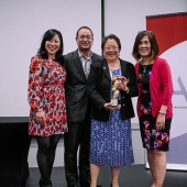 AARP was named as the 3AF's 2016 Marketer of the Year. Picture left to right are: Kari Lee, emcee; Ron Mori, Multicultural Markets and Engagement, AARP; Daphne Kwok, Vice President, Multicultural Leadership—Asian American & Pacific Islander Audience Strategy, AARP and Genny Hom-Franzen, 3AF Executive Director.