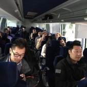 The 3AF charted a bus for the all-day immersion tour of San Gabriel Valley and Koreatown.