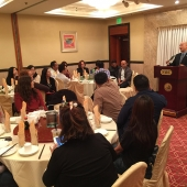 Mayor Hans Liang of Monterey Park was the keynote speaker at the lunch at NBC Seafood Restaurant.