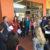 Board member Joe Min from interTrend Communications gave attendees some background on Focus Plaza, one of the tour stops.