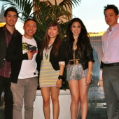 Asian American YouTube artists performed at the awards event. Pictured, left to right are Joseph Vincent, Timothy Delaghetto, Michelle Martinez, Erika David, and Giancarlo Pacheco, President, Plan C Agency and 3AF Board Member.