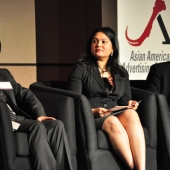 "Pictured left to right are the speakers on ""English-speaking Asians—Do they speak American?"": Jun del Rosario, Senior Director, The Filipino Channel; Nidhi Gupta, Senior Marketing Manager, Western Union, and Navin Narayanan, Vice President, Strategic Services, IW Group, Inc."