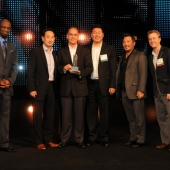 From left to right: Rickey Smiley, Host, the Rickey Smiley Morning Show, who served as the evening's emcee; Joe Min/Account Director, Bob Zeinstra/National Manager, Advertising & Strategic Planning, David Chung/National Manager, Targeted Advertising and Strategy, Jon Yokogawa/VP, Consumer Engagement, James Kulp/Account Director.