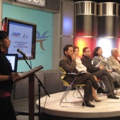The PAPC's fireside chat was moderated by Karmina Constantino, standing far left at the microphone. Seated as media forum panelists, left to right are Ricky Resurreccion, ABS-CBN; Esther Chavez, Inquirer.Net; Joseph Peralta, Asian Journal; Ferlie Andong, Filipinas Magazine; and Ness Ocampo, FilAm Network Radio.