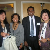 Enjoying the 3AF's Korean Market Conference are left to right: Alice Lee, 3AF Board Member, KSCI-TV; Sharmila Fowler, 3AF Board Member, New American Dimensions; Navin Narayanan, IW Group, Inc. and Jennie Choo, United States Census.