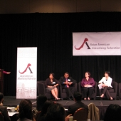 Pictured speaking at the panel discussion on the 3AF's groundbreaking ethnographic research study are: Genny Hom-Franzen, 3AF Executive Director, at the podium; Sharmila Fowler, 3AF Board member, New American Dimensions; Navin Narayanan, IW Group Inc.; Michele Valdovinos, former 3AF Board member, Phoenix Multicultural and Grace Chiu, President, GC Global Research.