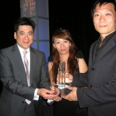 At the awards dinner, APartnership, a 3AF member organization, won first place in the Asian category for their campaign for the California Department of Public Health—Tobacco Control Program. Accepting the award are left to right: Ed Chang, 3AF board member and managing director at APartnership; Sherry Chin, senior copywriter, and Steve Lam, creative director.