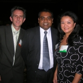 Enjoying the awards dinner are left to right: Saul Gitlin, 3AF board member and senior vice president, Kang & Lee; Navin Narayanan, vice president, strategic services, IW Group, Inc.; and Lynn Diep, marketing manager, Union Bank of California.